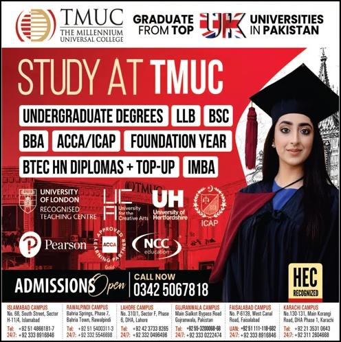 The Millennium Universal College TMUC Admission 2022